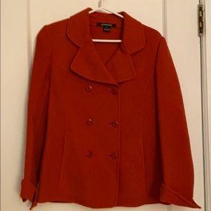 Ellen Tracy brick red wool blazer